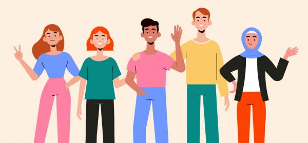 Ilustração com diferentes pessoas, com variados estilos, gêneros, cores, raças e tamanhos, simbolizando o que é uma persona